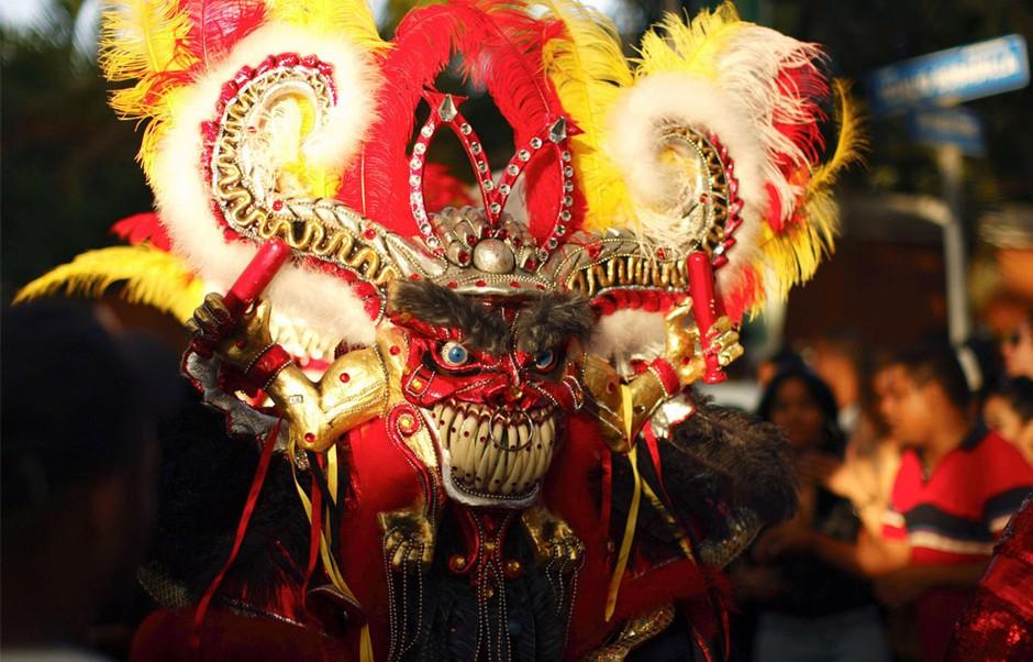 一位狂欢者戴着手工制作的面具参与一年一度的多米尼加la-vega狂欢节