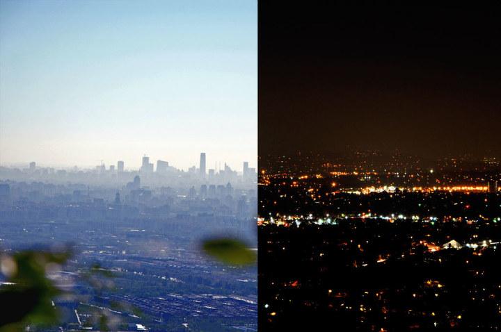 左:从香山上眺望北京,远处的高楼是cbd(最高楼国贸三期) 右:圣地亚哥