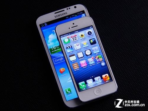 苹果5与三星s4�:/�_三星note2vs苹果iphone5武汉苹果5报3580