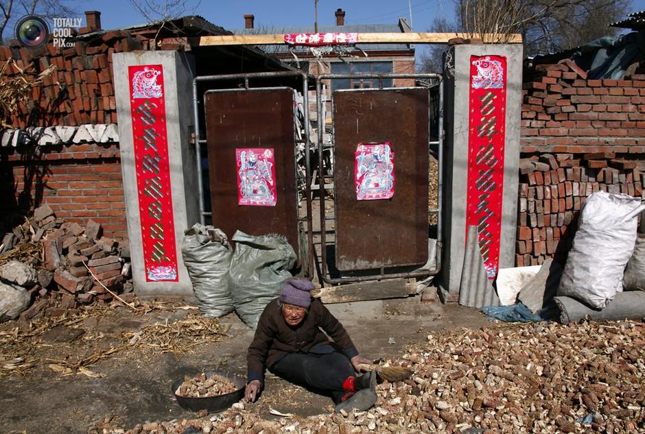 一名92岁的老妇人在家门口收拾玉米棒子以卖给工厂换取一点额外收入- 深瞳渊源,品味经典!