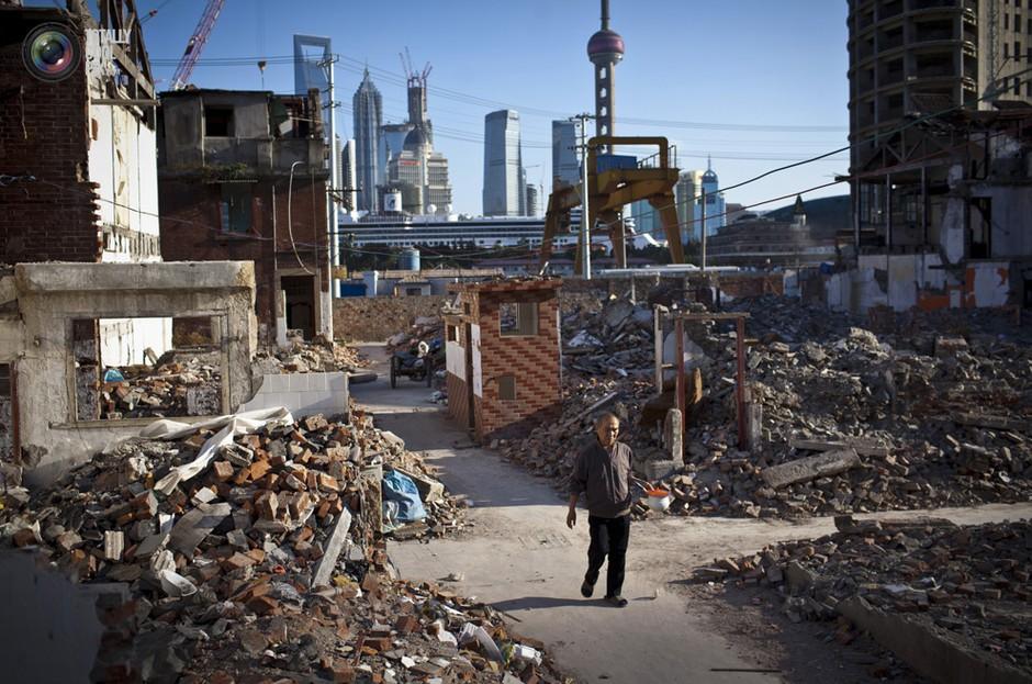 上海市中心的一处拆迁地上。Aly Song/REUTERS