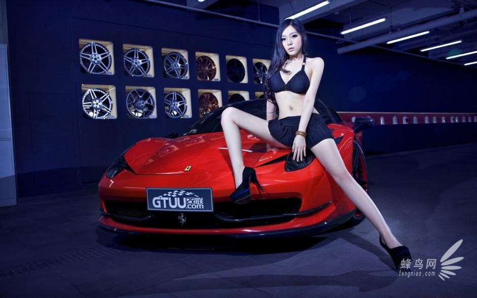 法拉利458与长腿美女的故事 红与黑的诱惑 法