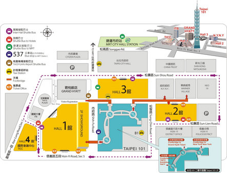 2007台北国际电脑展展馆交通线路图
