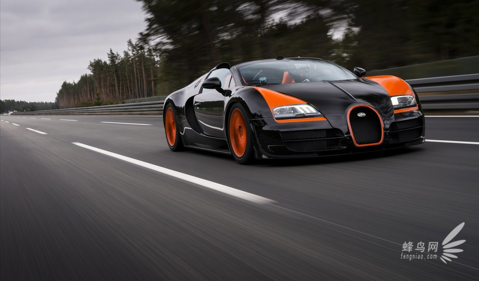 Bugatti布加迪最新的敞篷跑车Veyron16.4G randSport Vitesse,以法文的Vitesse速度一字为名,延续Veyron16.4Super Sport的威名,以1200hp的最大马力及153.1kgm的巨兽扭力稳坐最快敞篷之王,并创造出由静止加速到100km /h耗时仅2.6秒、极速410km /h的最快量产敞篷车纪录,预计超过200万欧元。 与Super Sport采用相同的8.