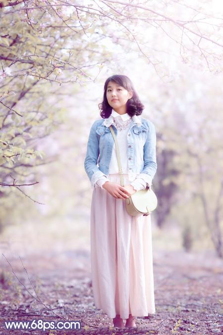 【】Photoshop给花木下的美女加上梦幻的粉紫色 - A加佳 - .