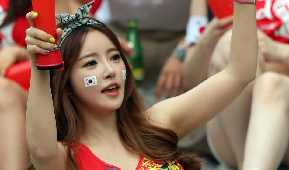 看球激情庆祝 一大波韩国美女球迷来袭套图 第8张