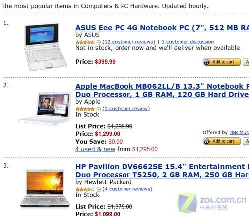 亚马逊最热销电脑 华硕Eee PC夺得头名