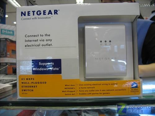 NETGEAR墙插式电力线以太网交换机XE104 4端口家庭网络...