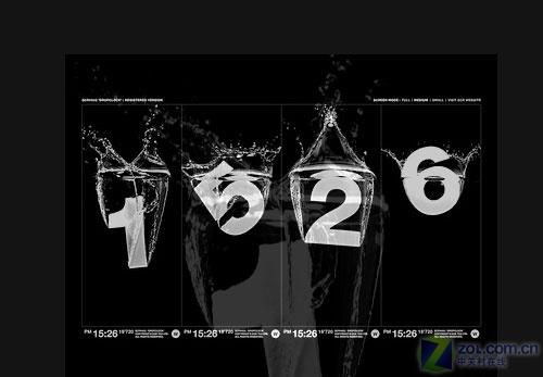 国外网站放出黑白绝美屏保:数字水滴
