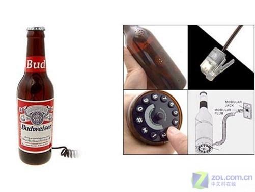 """外观造型很唬人 """"啤酒瓶""""无屏电话现身图片"""