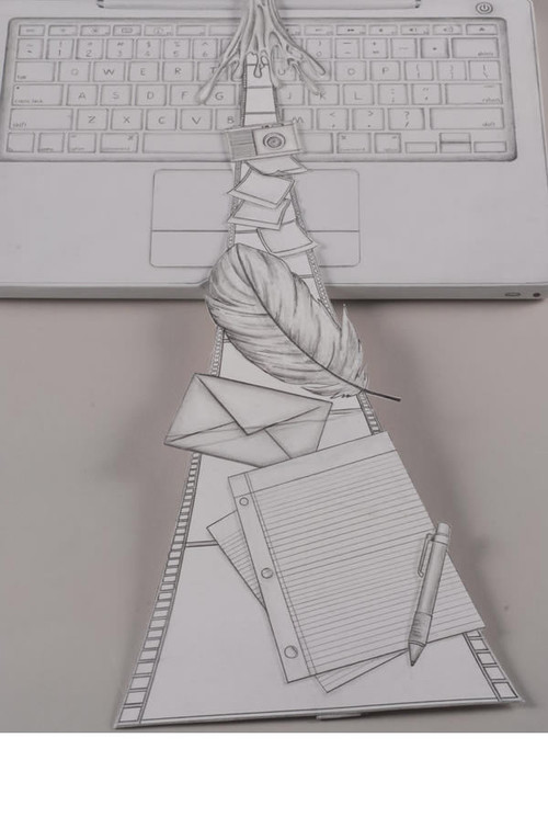 学生用铅笔画的苹果上网本细节