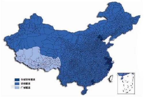 四维7.5版地图除西藏地区为广域覆盖外,其余省份均实现了详细覆盖