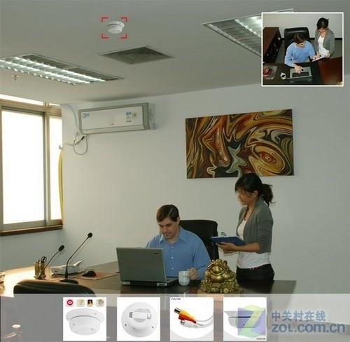烟热侦测器针孔摄像头 这款烟热侦测器在办公场所比较常见,...