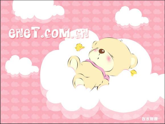 photoshop鼠绘酣睡可爱的卡通小熊壁纸