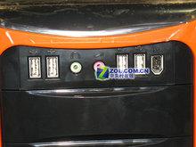 航嘉哈雷H001机箱前面板上的开关和USB扩展口