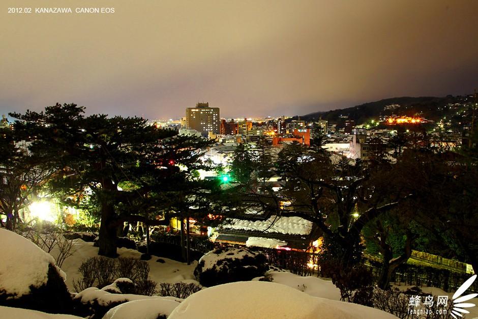 雪后的兼六园,站在高处鸟瞰金泽市