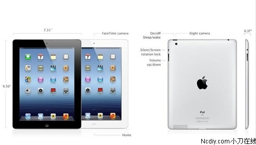 外观上,苹果the new ipad平板电脑造型简洁,大方,经典黑白两款可配