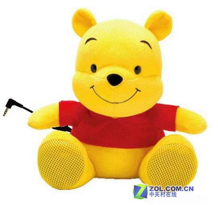 因为它的外观实在是太憨厚可爱了,小熊的小脚丫内部安装2w的扬声器