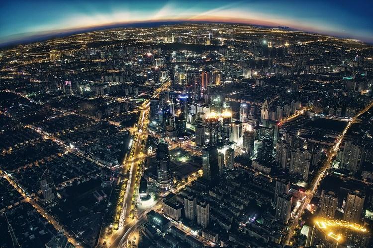 都市夜景俯瞰图手绘