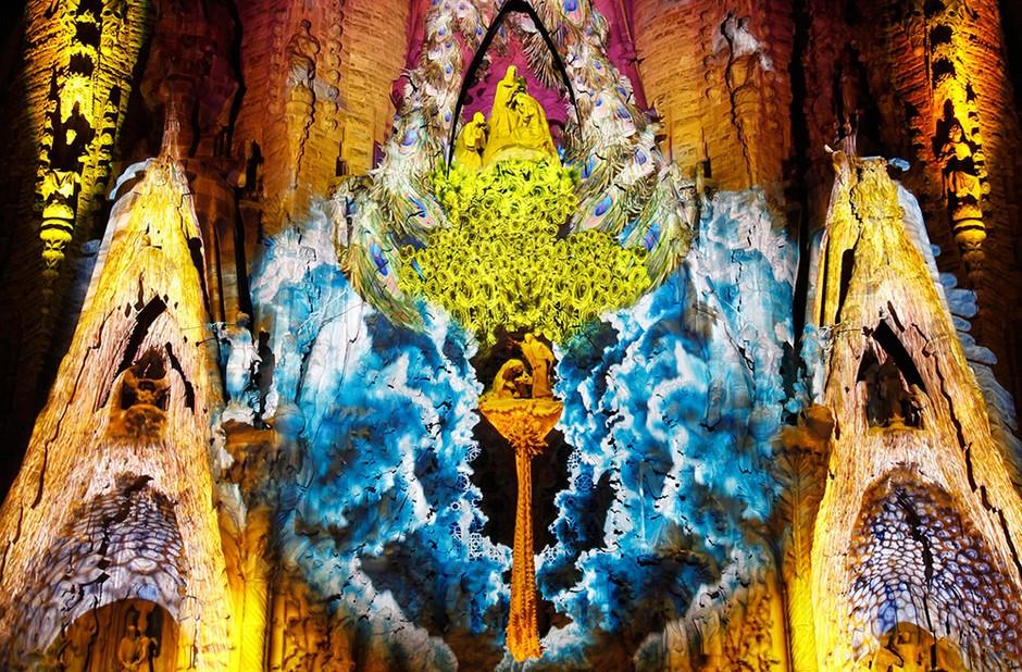 12年9月21日,巴塞罗那蒙特利尔颂歌 灯光秀 上 高清图片